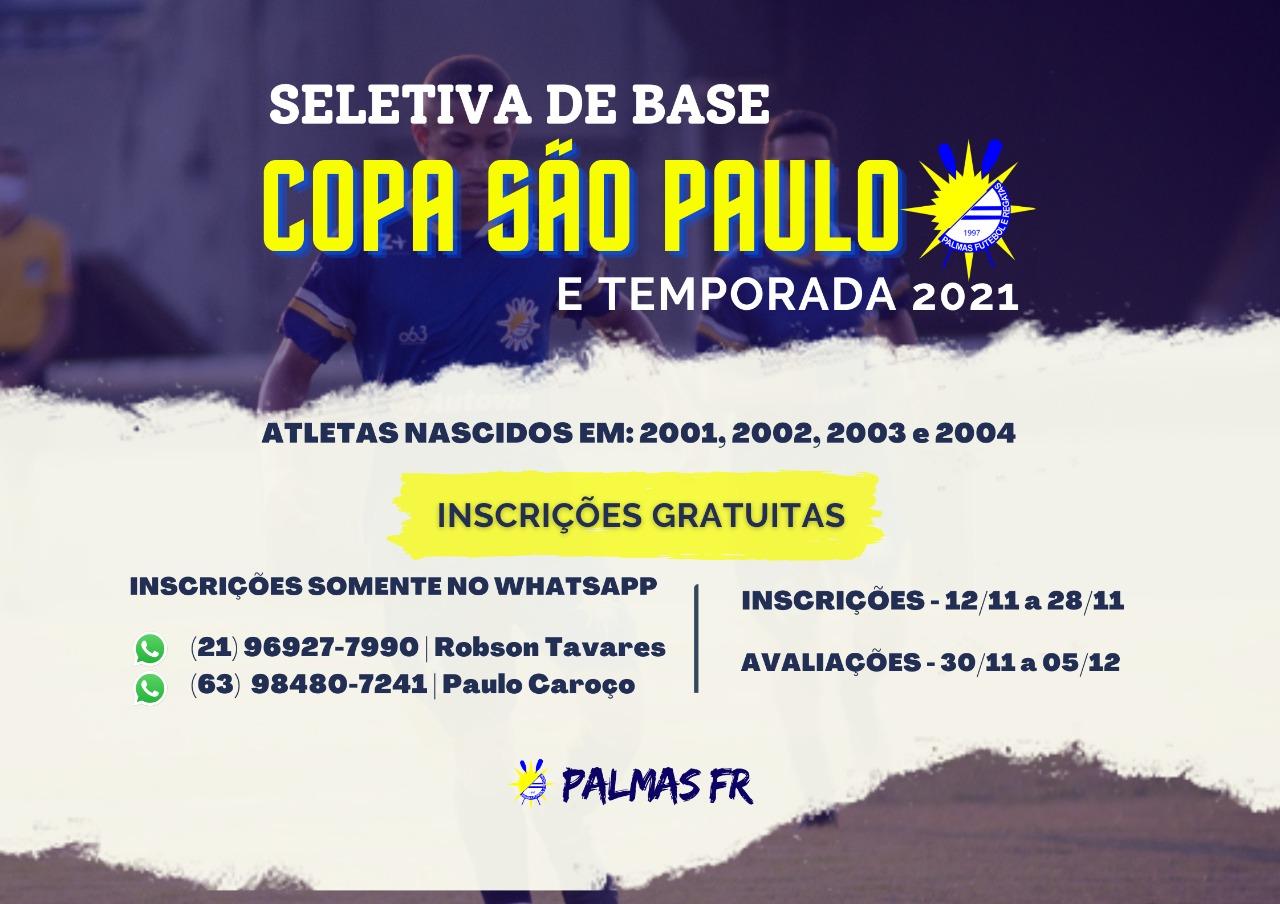 Palmas está com inscrições abertas para seletiva de base visando Copa São Paulo
